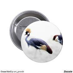 Crane bird pinback button