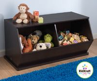 KidKraft Double Storage Unit - Espresso.... This would be perfect for dog toys... Easy enough for your pet to access his toys too!