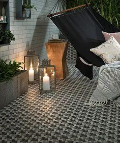 Grey tiles at Topps Tiles. Suitable for walls & floors in a range of materials. Garden Tiles, Patio Tiles, Patio Flooring, Outdoor Tiles, Flooring Ideas, Conservatory Flooring, Victorian Flooring, Indoor Outdoor Fireplaces, Tiles Uk