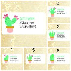 Cute cactus return address labels address labels by Labelin Return Address Stickers, Return Address Labels, Mailing Labels, Custom Address Labels, Text Design, Texts, Cactus, Envelope, Paper