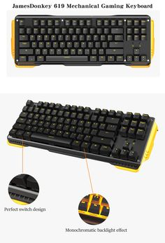 JamesDonkey 619 Gaming Mechanical Keyboard with LED Backlight Full N-key Rollover for PC Laptop
