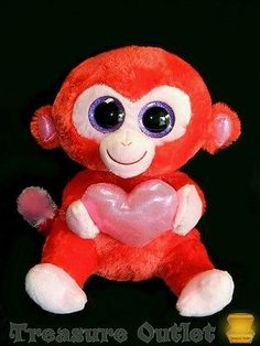 Ty Beanie Boos Stuffed Plush Valentines Day Red Monkey Charming 9in 2013
