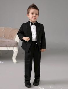 Formal wear kids four pieces luxurious black ring bearer suits cool boys tuxedo with black bow tie kids formal dress boys suits fashion kids suit kids Black And White Suit, Black Bow Tie, Black Tuxedo, Suit Fashion, Kids Fashion, Unique Fashion, Dress Fashion, Boys Formal Wear, Formal Dress