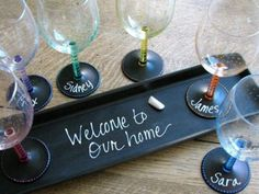 write... erase... repeat...  using a simple piece of chalk or chalk marker you can write on the hand-painted chalkboard (all black areas are chalkboard paint) on each glass and all glasses are dishwasher safe... brilliant!