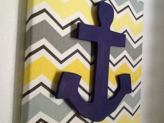 Nautical Chevron Wall Hanging with Anchor
