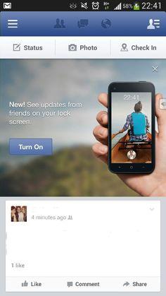 Facebook Home publicitado en su misma app... Tan mal les fue? #Facebook