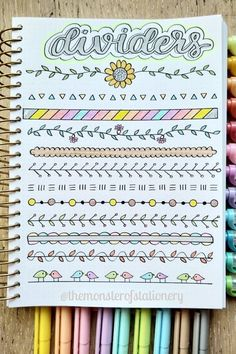 Collection of super cute and easy bullet journal divider ideas Bullet Journal School, Bullet Journal Dividers, Bullet Journal Headers, Bullet Journal Lettering Ideas, Bullet Journal Banner, Journal Fonts, Bullet Journal Notebook, Bullet Journal Ideas Pages, Bullet Journal Inspiration