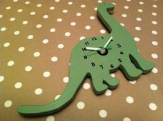 Dinosaur Clocks painted 'Dippy' by JigsawWoodenProducts on Etsy, £18.00