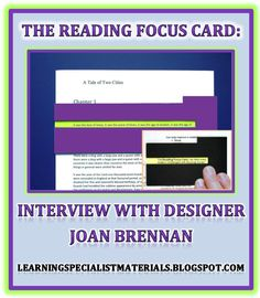 The Reading Focus Card: An Interview with Designer Joan Brennan (Learning Specialist and Teacher Materials - Good Sensory Learning) Decoding Strategies, Small Group Reading, Reading Specialist, Struggling Readers, Reading Fluency, Learning Disabilities, Dyslexia, Special Education, Teacher Resources