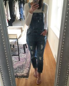 922019a31481 Obsessed with these distressed overalls for fall.  ssCollective   ShopStyleCollective  MyShopStyle  summerstyle