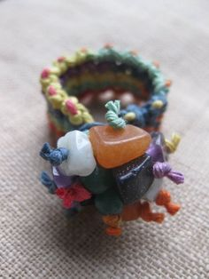 Rainbow Explosion Hemp Ring by PerpetualSunshine111 on Etsy, $14.00