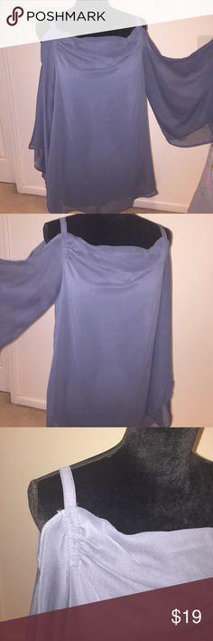 Cold shoulder top Cold shoulder blue/grey colored flowing top Kenar Tops Blouses