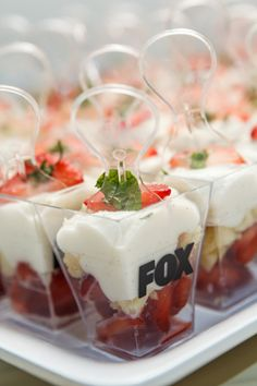 Fox-branded cups held mini desserts from Alligator Pear. Photo: Sean Twomey/2me Studios
