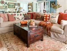 Rustic fall decor in farmhouse style home with corner stone fireplace Decor, Fall Living Room Decor, Home Living Room, Living Room Furniture, Autumn Home, Living Room Decor, Fall Decor, Home Decor, Living Decor