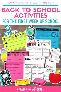 Back to School Activities for the Beginning of the Year - This back to school pack, which includes over 25 activities to use on the first day of school! First Year Teaching, First Day Of School Activities, Activities For Boys, Beginning Of The School Year, Classroom Activities, School Resources, Classroom Ideas, School Pack, School Teacher