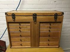 There are a few small nicks here and there from normal light use. Tool Storage, Storage Chest, Machinist Tool Box, Display Boxes, Chest Of Drawers, Woodworking Tools, Hardware, Jewels, Locks
