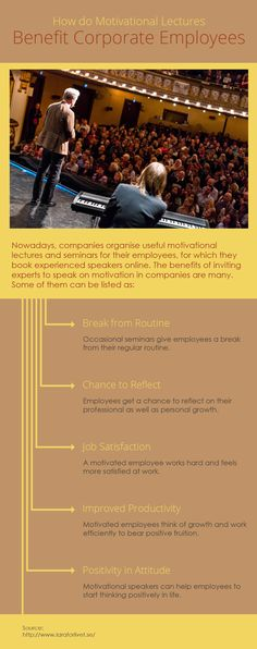 Organizing motivational seminars benefit employees in many ways such as break from routine, productivity increase, having positive attitude etc.