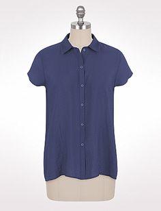 Plus Size Textured High-Low Button-Down Shirt | Dressbarn