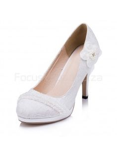 Cheap Lace Bridal Wedding Shoes with Pearls for Sale