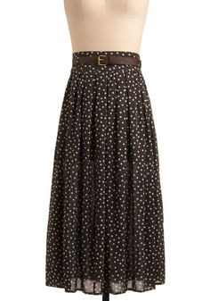 Salted Chocolate Skirt - Brown, White, Polka Dots, Buckles, Pleats, Casual, Spring, Summer, Fall, Long