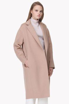 Inside strap wool cashmere handmade open coat