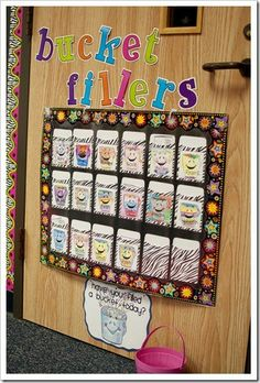 This is an example of a bucket filling wall in a classroom made from envelopes. You can also use plastic cups and get the students to individually decorate the cups however they like.  Students write personal notes to students and how they would like to fill their bucket!
