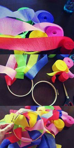 Paper streamer chandeliers DIY by becksorange, - cute as a little favor for the kids?Paper streamer chandeliers DIY maybe with that dollar lace .Here's a super easy DIY for Paper Streamer Chandeliers! What you'll need: streamers scissors embroidery h Party Decoration, Birthday Decorations, Diy Streamer Decorations, Deco Ballon, Paper Streamers, Bollywood Party, Diy Chandelier, Iron Chandeliers, Mexican Party