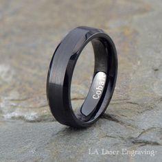 Cobalt Wedding Ring Mens Band Polished Beveled 6mm Brushed Custom Engraved