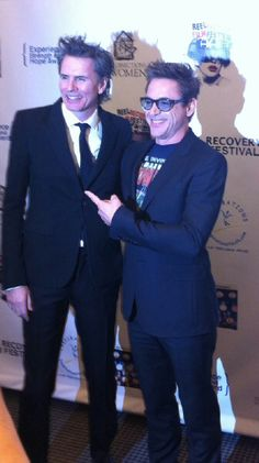 Duran Duran's John Taylor with actor Robert Downey Jr. John is being honored by Writers in Treatment at their Los Angeles gala