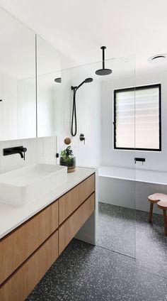 73+ Black And White Bathroom ( FRESH & COOL ) - Bathroom Design Modern Bathroom Tile, Bathroom Trends, Laundry In Bathroom, Bathroom Layout, Bathroom Interior Design, Bathroom Renovations, Small Bathroom, Master Bathroom, Bathroom Inspo