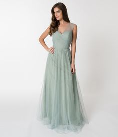 9d4039279f929 Sage Green Mesh Wrapped Sweetheart Neckline Long Dress – Unique Vintage  White Wrap Dress