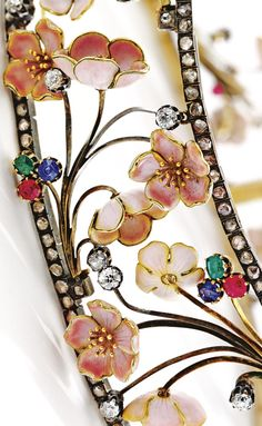 Detail: Art Nouveau cherry blossom choker with diamonds, rubies, sapphires, and emeralds. By Emile Froment-Meurice, circa 1900. Via Diamonds in the Library.