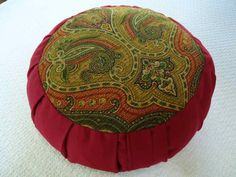 Zafu meditation cushion Paisley design with dark red burgundy sides and back. by barbieszenhouse on Etsy