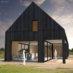 Type B | Black House - Woning & Studio | Eustace Architectuur Black Shed, Black Barn, Black House, Bungalow Extensions, House Extensions, Build My Own House, Building A House, Wexford House, Modern Log Cabins