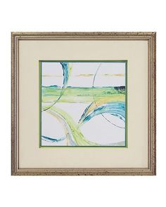 """John Richard Carousel II 21""""W x 21""""H Carousel II. The waves of colors in turquoise, light blue, green and grays on a white background. Set high above the hand finished green background and framed in wood  molding with acid aged silver finish."""