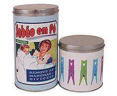 Conjunto de lata para lavanderia vintage
