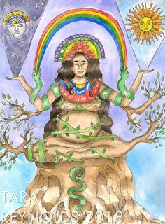 Pachamama, Inca Mother Goddess of the Earth art print - Pachamama is a Mother Goddess of the Earth Watercolor Paintings, Original Paintings, Original Art, Goddess Art, Goddess Pagan, Pagan Art, Mother Goddess, Visionary Art, Sacred Art