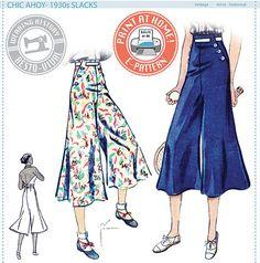 1930s Slacks ONLY- Size Pack B- Wearing History PDF Sewing Pattern $9.99 AT vintagedancer.com