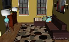 SketchUp - 3D view of living room. www.riesedesign.com