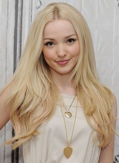 Dove Cameron - many celebs favour a look that is close to but not quite their natural colour palette. Dove loves Light Summer, she is styled in those colours most frequently and her hair is often dyed a cool shade of blonde, like in this picture. Here you can see the hair looks ok but is diminishing something. The taupe is quite nice, could be warmer in real life and the gold jewellery is terrific. The warm peachy makeup is nice and working hard to balance the too-cool hair.