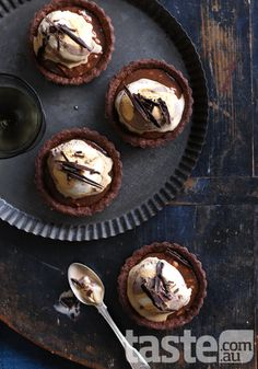 These to-die-for chocolate-laden tarts are surprisingly simple to make. (Photography by Ben Dearnley; Recipe by Michelle Southan).