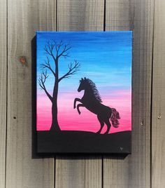 11 × 14 painting, unframed canvas, acrylic painting, horse silhouette The top of the sky was painted Horse Canvas Painting, Unicorn Painting, Cute Canvas Paintings, Mini Canvas Art, Shadow Painting, Diy Canvas, Painting Art, Oil Pastel Art, Oil Pastel Drawings