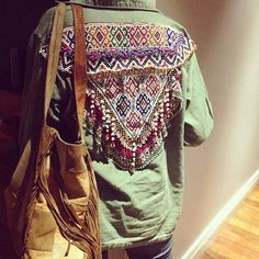 Love the lace and beading Aztec tribal design on the back of this army jacket!