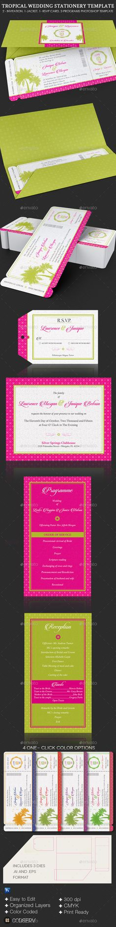 Tropical Wedding Stationery Template #design Download: http://graphicriver.net/item/tropical-wedding-stationery-template-set/12146728?ref=ksioks