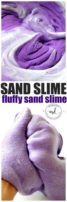 Slime : Create Fluffy Sand Slime - Sand Slime recipe for a new sensory experience than either slime or sand. You can easily make a fluffy sand slime with my sand slime recipeCan Can may refer to: Homemade Slime, Diy Slime, Edible Slime, Homemade Art, Sensory Activities, Activities For Kids, Sensory Play, Projects For Kids, Diy For Kids