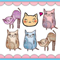 $5 Digital Clip art Cats. Cute animals clipart images for digital scrapbooking, invitations cards. Children clip art Personal use