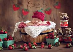 strawberry themed newborn shoot