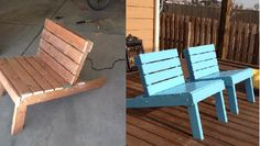 These are Adironack Chairs I made from pressure treated cedar.  I then painte them this calming blue