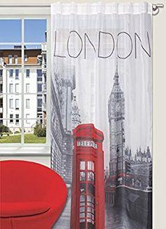 Amazon.de: Splendid LONDON Konfektion Vorhang mit verdeckten Schlaufen, 140 x 245 cm, grau