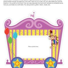 Circus Train Photo Frame.... This printable frame allows you to capture a photo of your birthday boy or girl or send your guests home with a keepsake photo of them at the party!